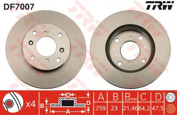 Тормозной диск TRW DF7007