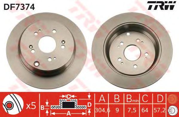 Тормозной диск TRW DF7374