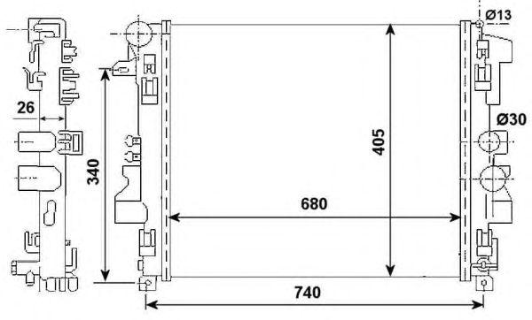 Радиатор, охлаждение двигателя NRF 53801