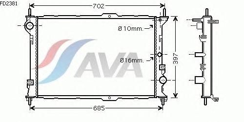 Радиатор, охлаждение двигателя AVA QUALITY COOLING FD2381