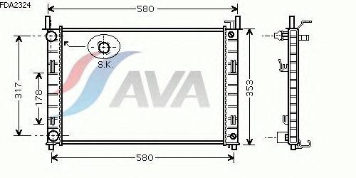 Радиатор, охлаждение двигателя AVA QUALITY COOLING FDA2324