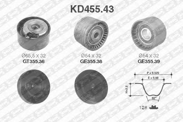 Комплект ремня ГРМ SNR KD455.43
