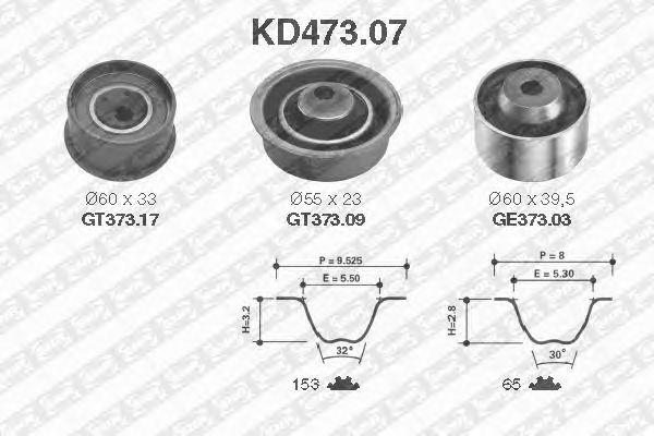 Комплект ремня ГРМ SNR KD473.07