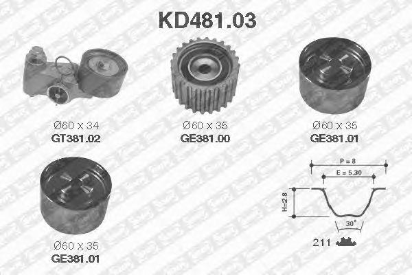 Комплект ремня ГРМ SNR KD481.03