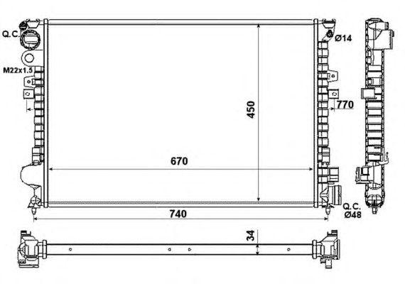 Радиатор, охлаждение двигателя NRF 58993