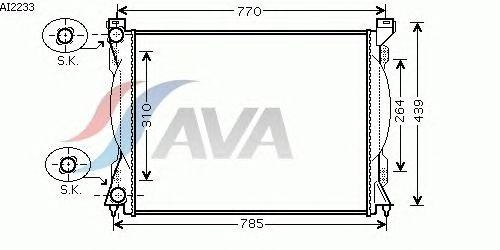 Радиатор, охлаждение двигателя AVA QUALITY COOLING AI2233