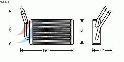 Радиатор отопителя AVA QUALITY COOLING FD6316