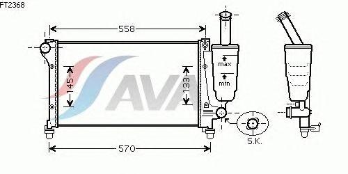 Радиатор, охлаждение двигателя AVA QUALITY COOLING FT2368