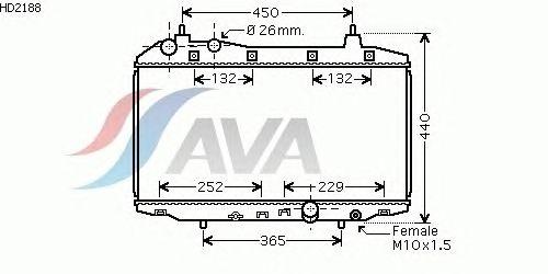 Радиатор, охлаждение двигателя AVA QUALITY COOLING HD2188