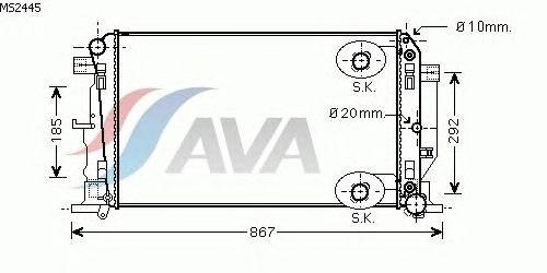 Радиатор, охлаждение двигателя AVA QUALITY COOLING MS2445