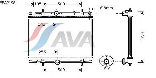 Радиатор, охлаждение двигателя AVA QUALITY COOLING PEA2198