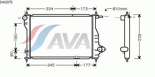 Радиатор, охлаждение двигателя AVA QUALITY COOLING DW2075