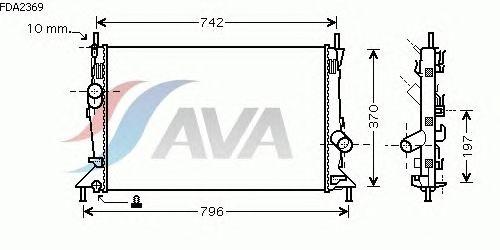 Радиатор, охлаждение двигателя AVA QUALITY COOLING FDA2369