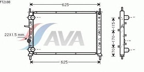 Радиатор, охлаждение двигателя AVA QUALITY COOLING FT2188