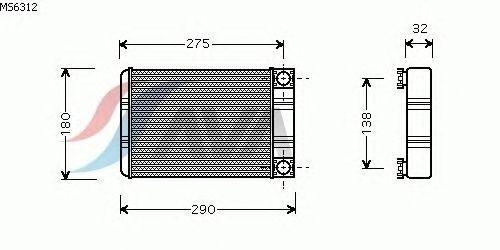 Радиатор отопителя AVA QUALITY COOLING MS6312