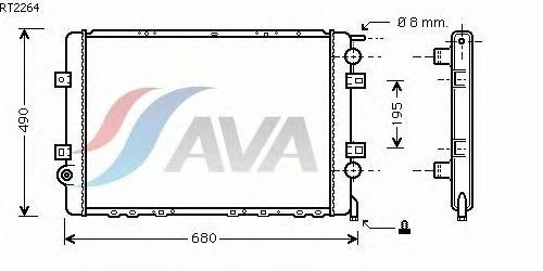 Радиатор, охлаждение двигателя AVA QUALITY COOLING RT2264