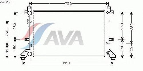 Радиатор, охлаждение двигателя AVA QUALITY COOLING VW2250