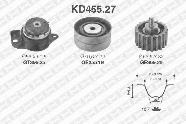 Комплект ремня ГРМ SNR KD455.27
