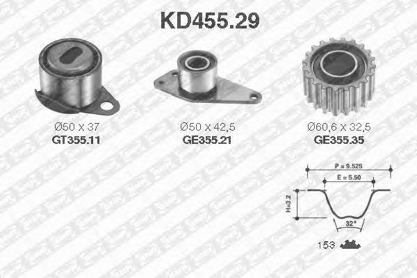 Комплект ремня ГРМ SNR KD455.29