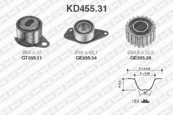 Комплект ремня ГРМ SNR KD455.31