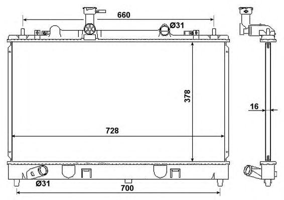 Радиатор, охлаждение двигателя NRF 53383