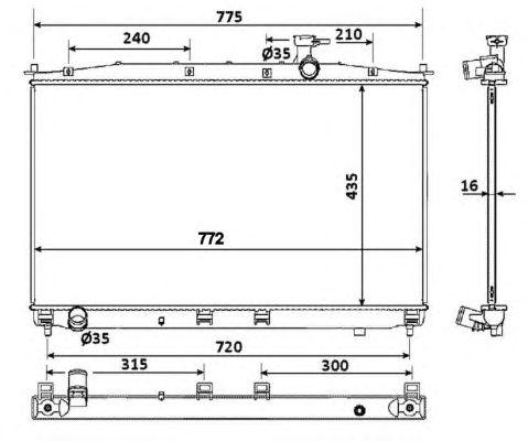 Радиатор, охлаждение двигателя NRF 53942
