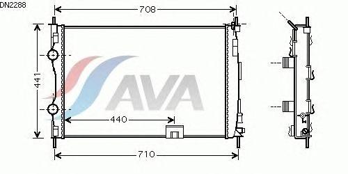 Радиатор, охлаждение двигателя AVA QUALITY COOLING DN2288