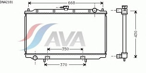 Радиатор, охлаждение двигателя AVA QUALITY COOLING DNA2181
