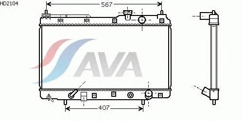 Радиатор, охлаждение двигателя AVA QUALITY COOLING HD2104