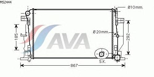 Радиатор, охлаждение двигателя AVA QUALITY COOLING MS2444