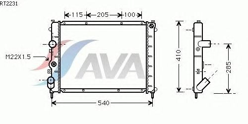 Радиатор, охлаждение двигателя AVA QUALITY COOLING RT2231