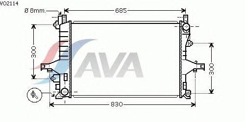 Радиатор, охлаждение двигателя AVA QUALITY COOLING VO2114