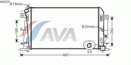 Радиатор, охлаждение двигателя AVA QUALITY COOLING VW2271
