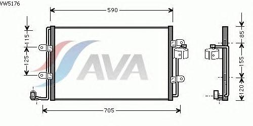 Радиатор кондиционера AVA QUALITY COOLING VW5176