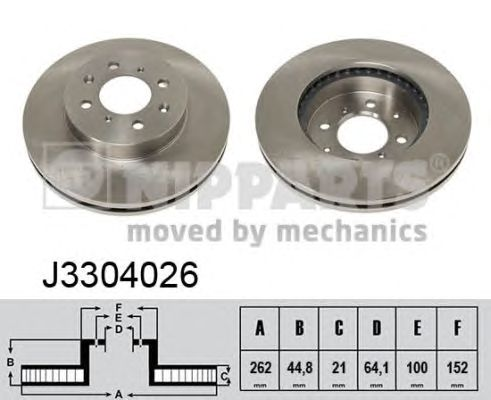 Тормозной диск NIPPARTS J3304026