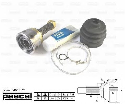 Комплект ШРУСов PASCAL G10016PC