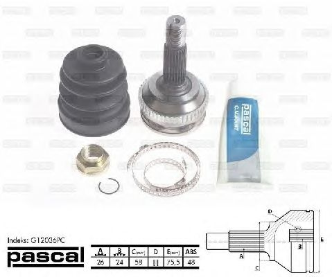 Комплект ШРУСов PASCAL G12036PC