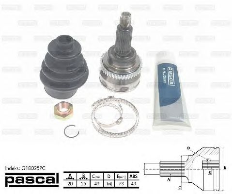 Комплект ШРУСов PASCAL G18025PC