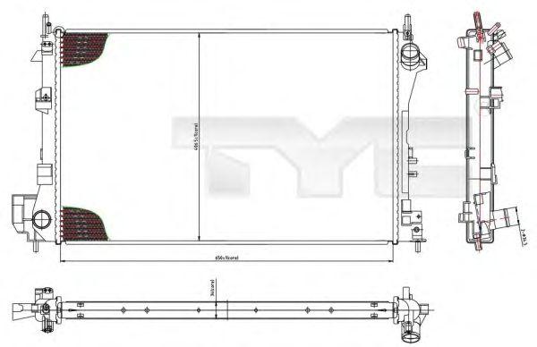Радиатор, охлаждение двигателя TYC 725-0010