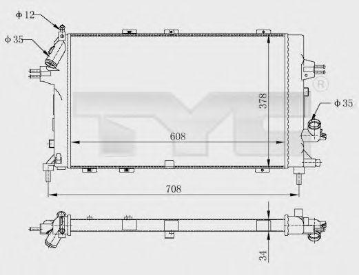 Радиатор, охлаждение двигателя TYC 725-0028-R