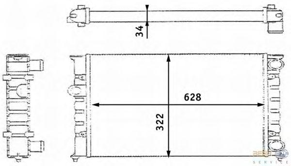 Радиатор, охлаждение двигателя BEHR HELLA SERVICE 8MK 376 713-421