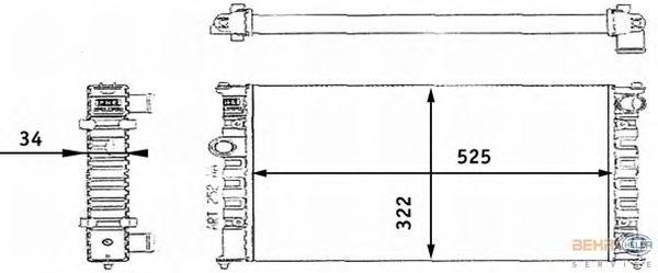 Радиатор, охлаждение двигателя BEHR HELLA SERVICE 8MK 376 713-721