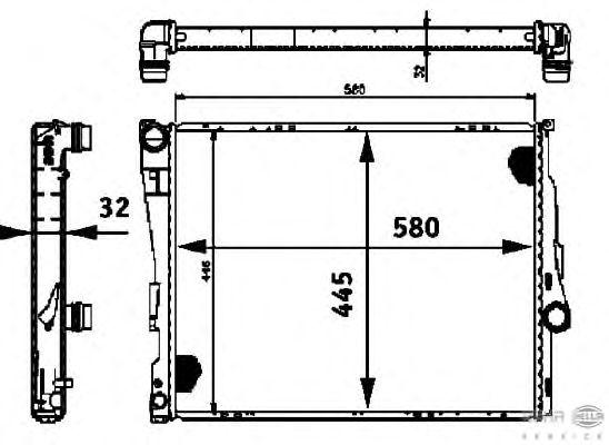 Радиатор, охлаждение двигателя BEHR HELLA SERVICE 8MK 376 716-261