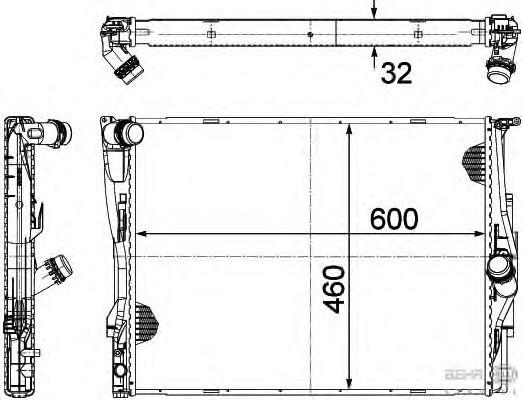Радиатор, охлаждение двигателя BEHR HELLA SERVICE 8MK 376 754-061