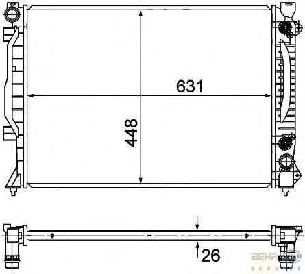 Радиатор, охлаждение двигателя BEHR HELLA SERVICE 8MK 376 781-031