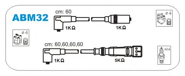Комплект высоковольтных проводов JANMOR ABM32