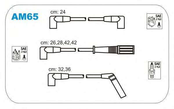 Комплект высоковольтных проводов JANMOR AM65
