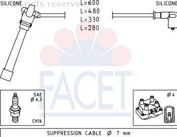 Комплект высоковольтных проводов FACET 4.9505
