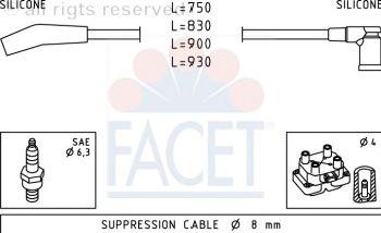 Комплект высоковольтных проводов FACET 4.9568