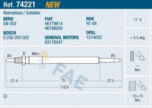 Свеча накала FAE 74221